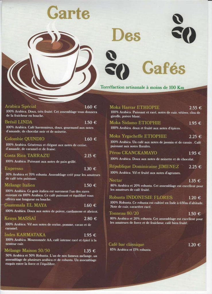 Carte des cafés